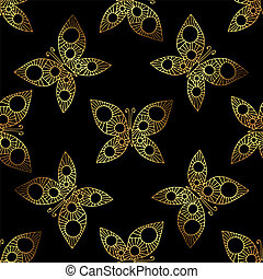 Seamless background with gold beauyiful butterfly