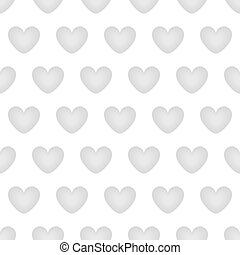 Seamless background with gray hearts on a white background.