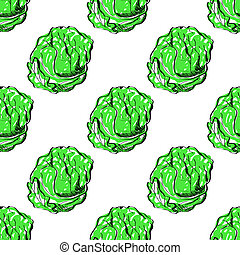 seamless background with green cabbage.