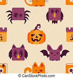 Seamless Background with Halloween Icons
