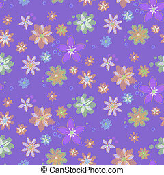 Seamless background with hand-drawn flowers
