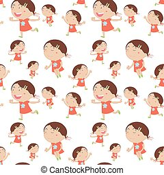 Seamless background with happy girl in red