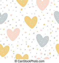 Seamless Background with Hearts and Dots