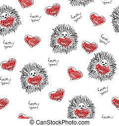 seamless background with hearts and hedgehog