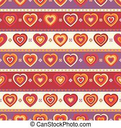 Seamless background with hearts and stripes