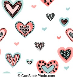 Seamless background with hearts isolated on a white.