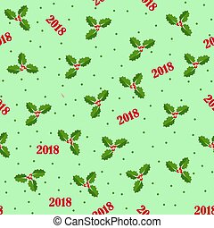 Seamless background with holly berries. Celebration christmas pattern. Vector illustration.