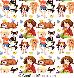 Seamless background with kids and pets