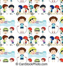 Seamless background with kids playing sports