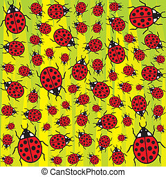 seamless background with ladybugs