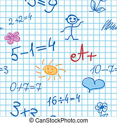 Seamless Background with Math Formulas on Notebook Sheet