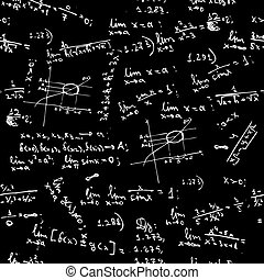 Seamless background with math formulas on blackboard