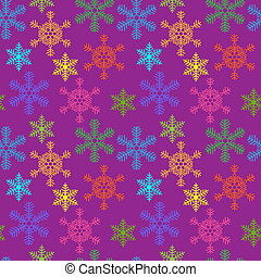 Seamless background with multi-colored Christmas snowflakes