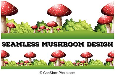 Seamless background with mushroom on the ground