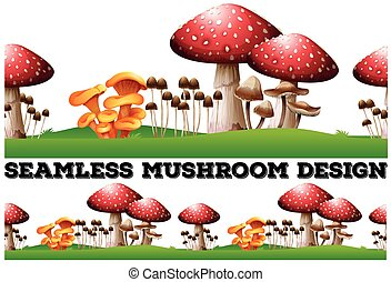 Seamless background with mushrooms on the lawn