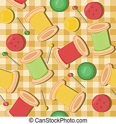 seamless background with needlework objects vector...