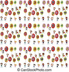 Seamless background with numbers on balloons