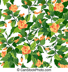 Beautiful seamless background with orange roses and green leafs.