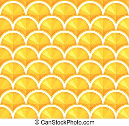 Seamless background with orange slices. Vector.