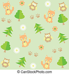 background with owls  and foxes