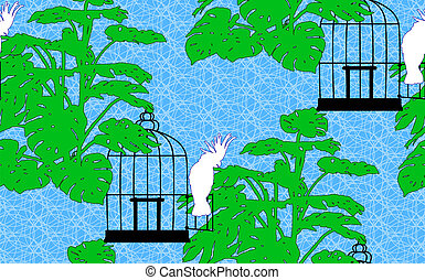 Beautiful seamless background with a bird cage, a cockatoo and Monstera.