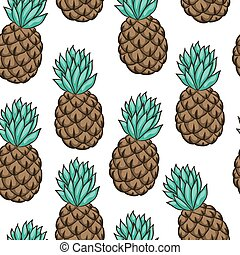Seamless background with pineapple on white. design for holiday greeting card and invitation of seasonal summer holidays, summer beach parties, tourism and travel