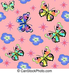 seamless background with pink butterfly flower