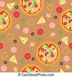 seamless background with pizza and ingredients