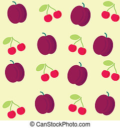 seamless background with plum and cherry