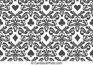 Seamless background with poker symbols surrounded by floral...