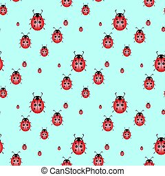 Seamless background with pretty watercolor ladybugs. Vector illustration.
