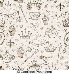 Seamless background with princess accessories.