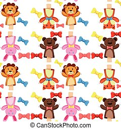 Seamless background with puppets and bows