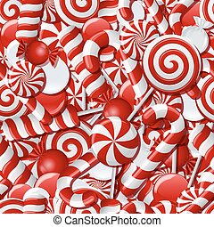 Seamless background with red and white candies.
