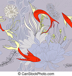 Seamless background with red fishes