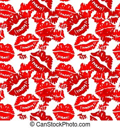 Seamless background with red prints of lipstick