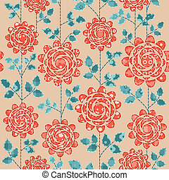 Seamless background with red roses.