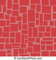 Seamless background with red uneven rectangle mosaic shapes, red stone wall design