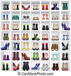 seamless background with shoes on shelves of shop or dressing room