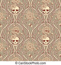 Seamless background with skull in art nouveau style, vector illustration