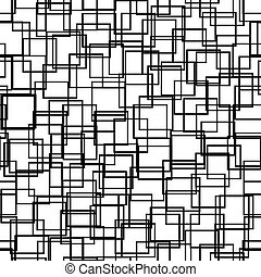 Seamless background with squares. Modern minimalistic style. One color black on white. Geometric pattern.