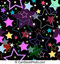 Seamless background with stars (vector) - Black seamless...