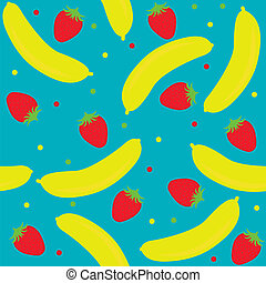 background with strawberry and banana
