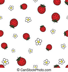 Seamless background with strawberry