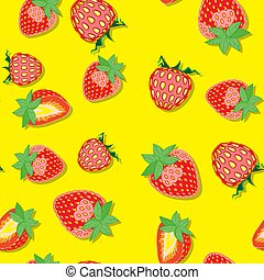 Seamless background with strawberry berries and leaves on yellow background. Design for textiles, posters, labels. Vector illustration.