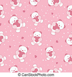 Seamless background with teddy bear