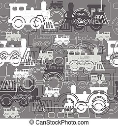 Seamless background with the steam locomotives.