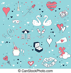 Seamless background with the theme of love. Cartoon vector set
