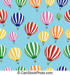 Seamless background with thermal balloons, vector ...