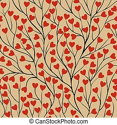 seamless background with tree branches and leaf red heart.